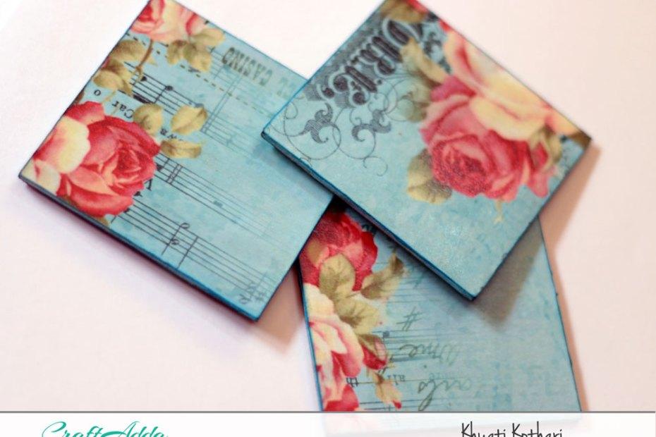 Decoupage MDF coasters decoupage tea coasters enchanted blooms 1