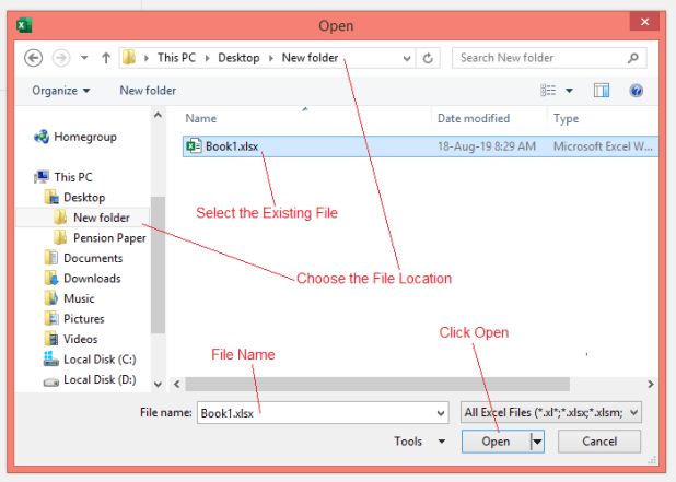 How to Open an Existing Workbook in Excel