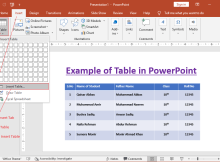 How to insert a table in PowerPoint?