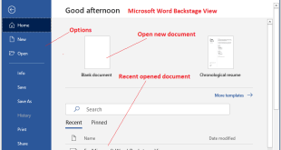 Microsoft Word Backstage View with the File Tab