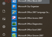 how to open Microsoft word from start menu
