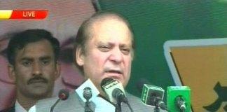 Nawaz Sharif addressing workers