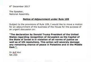 Adjournment motion to discuss Jerusalem issue