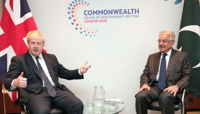 Khawaja Asif calls on UK Secretary of State in London
