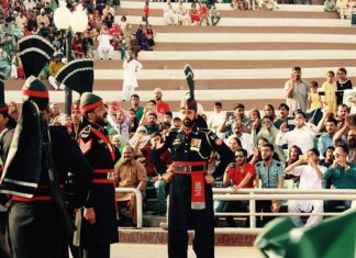Pakistan cricket team witness flag lowering ceremony at Wagha border