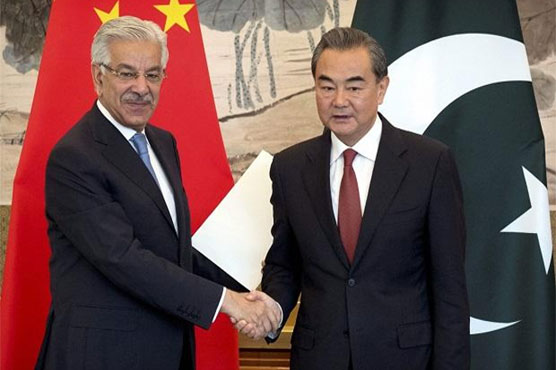 Foreign Minister Khawaja Asif meets Chinese counterpart in Beijing