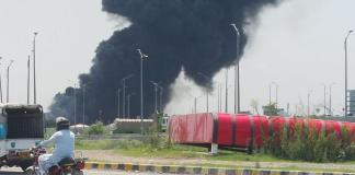 Fire erupts in weekly bazaar near Peshawar Morr, Islamabad