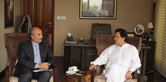 Iranian envoy calls on Imran Khan, felicitates on election victory