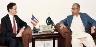 US Ambassador Paul Jones meets Finance Adviser Dr Hafeez Shaikh