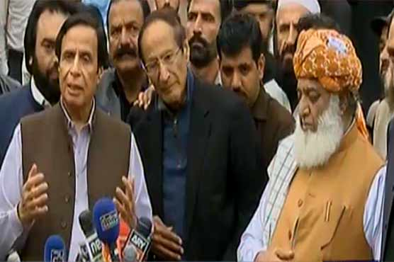 Chaudhry Brothers, Fazlur Rehman discuss Azadi March