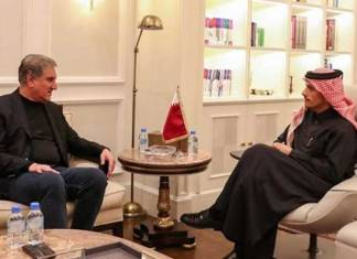 FM Qureshi meets Qatari counterpart, calls for diplomatic solution to Middle East situation