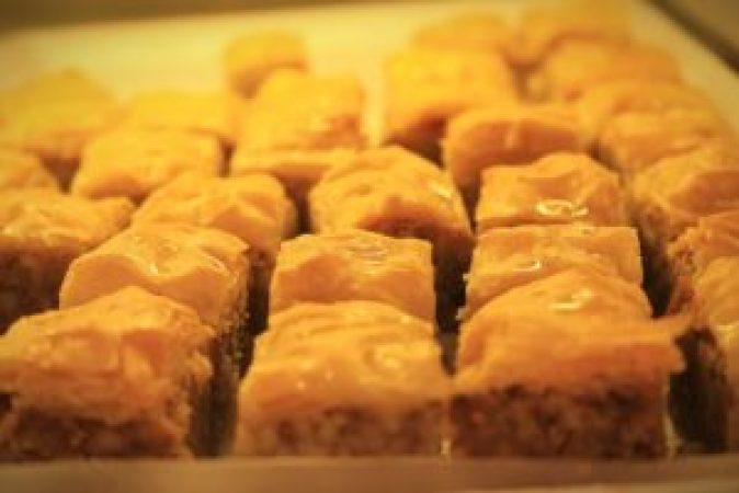 Baklava-A pastry made of layers of filo filled with chopped nuts, held together with syrup.