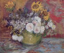 Van Gogh, Roses and Sunflowers, 1886