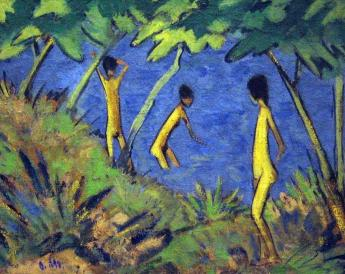 Otto Mueller, Landscape with Yellow Nudes, c. 1919