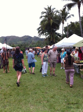 A farmers market full of hipster hippies