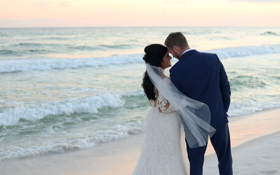bride and groom portrait on Destin beach