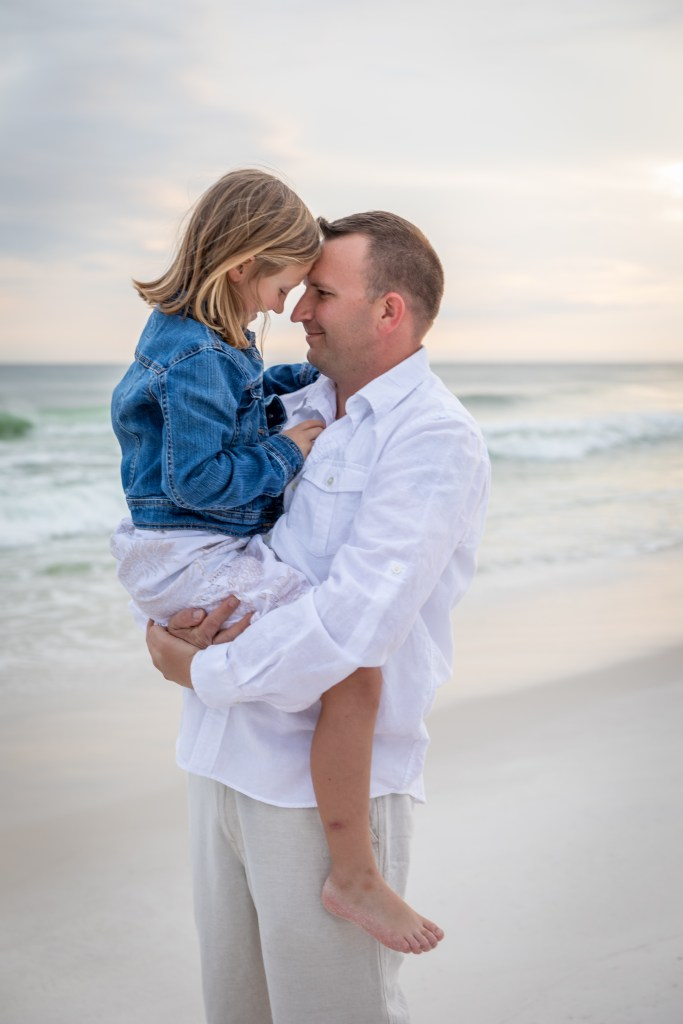 father and daughter beach photo on Okaloosa Island in Fort Walton Beach, Florida