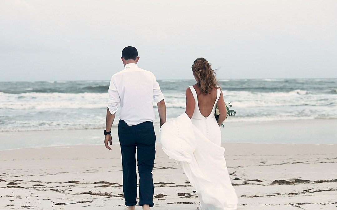 Bride and groom on Perdido Beach