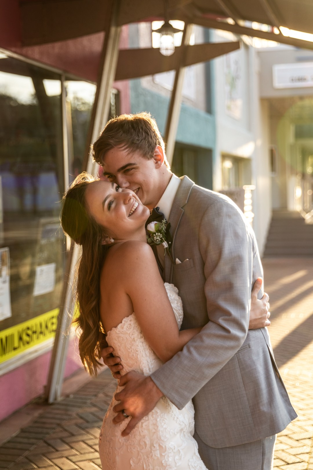 bride and groom photos in downtown Fort Walton Beach