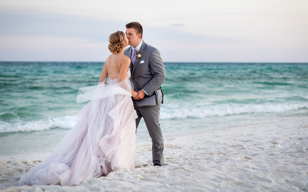bride and groom photo after Pensacola Beach Wedding