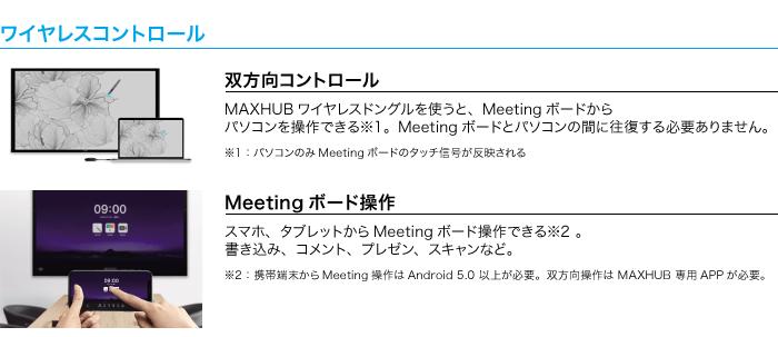 ワイヤレスコントロール。双方向コントロール、Meetingボード操作