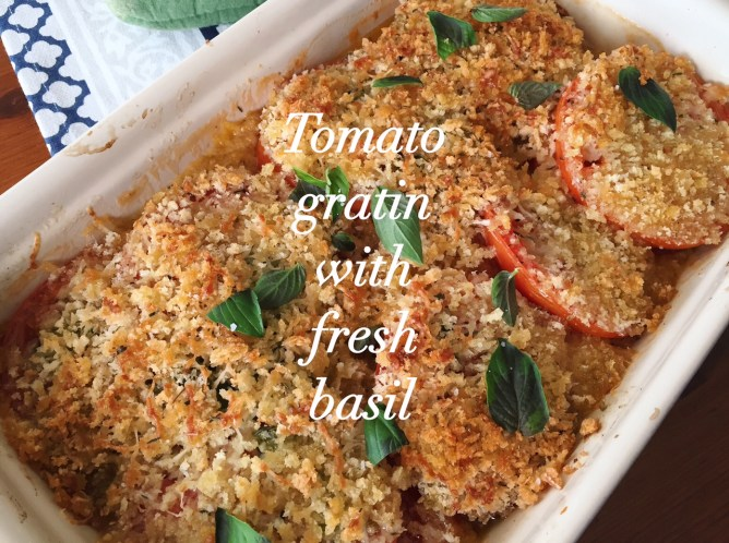 Tomato Gratin with fresh basil
