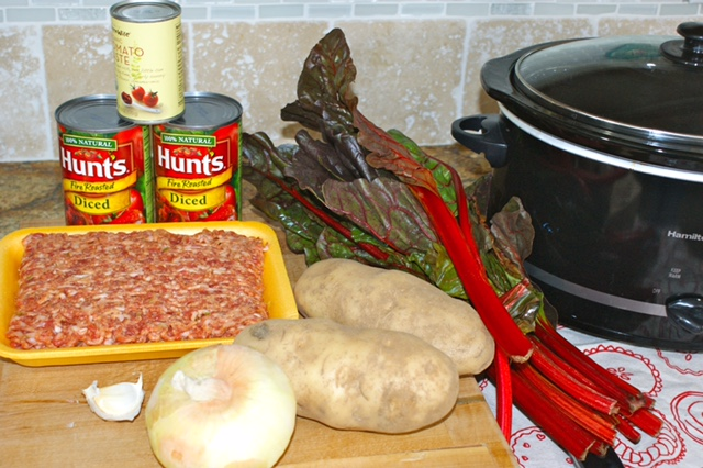 Ingredients for Swiss Chard and Sausage StewIngredients for Swiss Chard and Sausage Stew