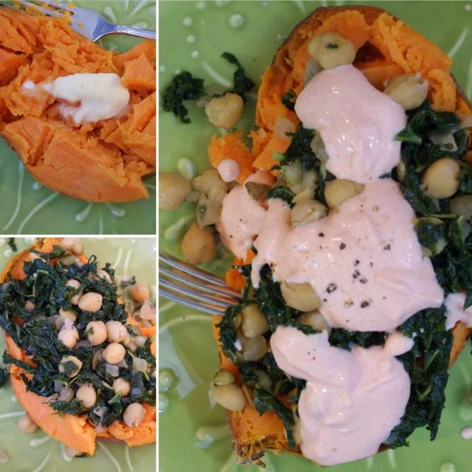 Kale Chickpea Sweet Potatoes with Sriracha Sauce