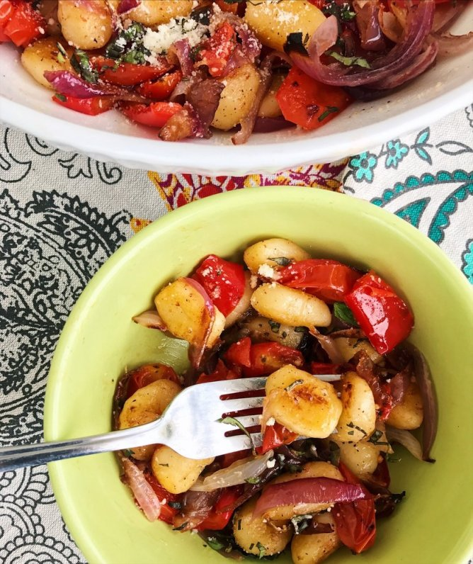 One Pan Crispy Gnocchi with Roasted Onion, Tomatoes and Bell Pepper