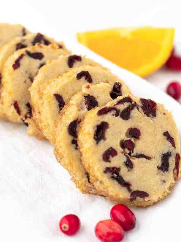 Cranberry Orange Shortbread Cookies   kickassbaker.com #cranberryorgance #orangecranberry #holidaycookies #christmas #cookies #holidays #cookieexchange