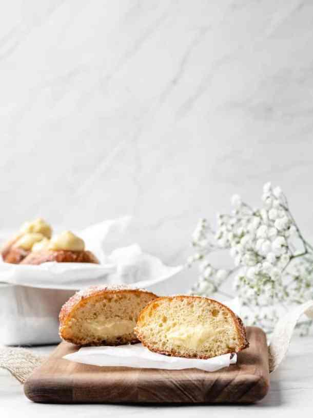 Brioche Doughnuts   kickassbaker.com #brioche #donuts #doughnuts #vanilla #cream #creme #filled #dessert #nutfree #recipes #kickassbaker #fried #breakfast