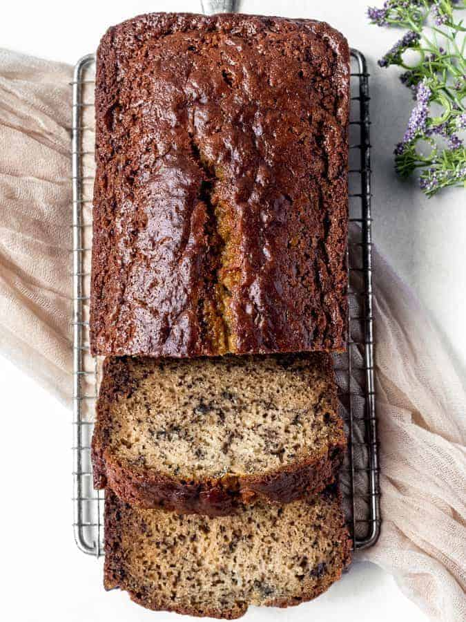 Banana Bread | kickassbaker.com #bananabread #bananas #moist #easyrecipes #quickbread #nutfree #peanutfree #allergyfriendly #nonuts