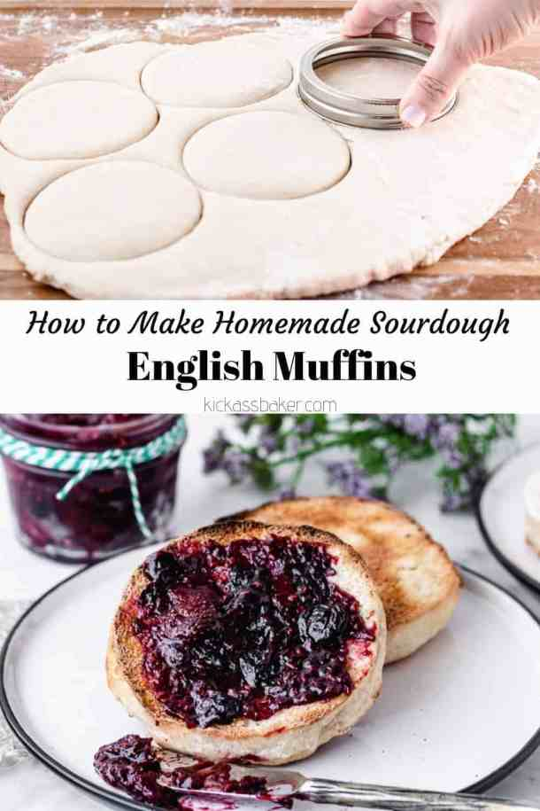 Homemade Sourdough English Muffins | kickassbaker.com #homemade #englishmuffin #englishmuffins #sourdough #howto #easyrecipe #kingarthurflour #breakfast #nutfree #peanutfree #morning