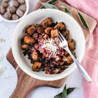 Sweet Potato Gnocchi in Bacon Sage Sauce | kickassbaker.com #sweetpotato #gnocchi #paleo #paleorecipe #glutenfree #dairyfree #nutfree #bacon #sage #ghee #dinner