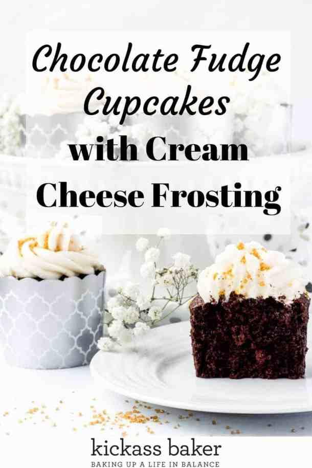 Chocolate Fudge Cupcakes | kickassbaker.com pin for Pinterest