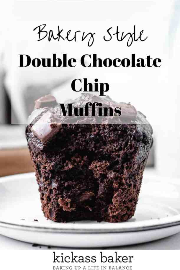 Bakery Style Double chocolate chip muffin pin for Pinterest