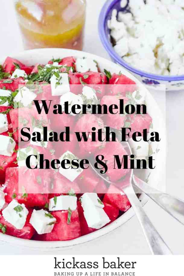 Watermelon Salad with Feta cheese and mint pin for Pinterest
