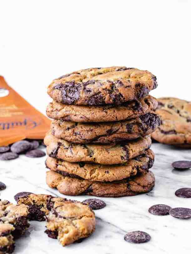 Stack of large chocolate chip cookies by Jacques Torres, NY Times recipe