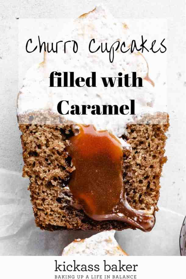 Churro cupcakes filled with caramel Pinterest image with text overlay