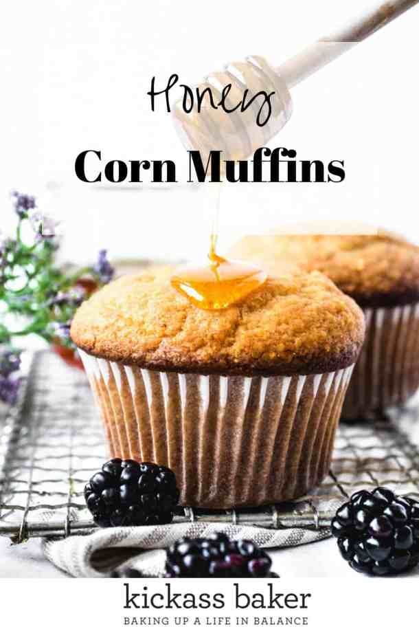Honey Corn Muffins | kickassbaker.com pin for Pinterest with text overlay