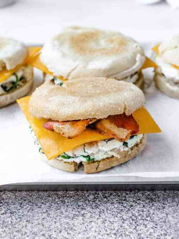 Egg White Breakfast Sandwiches ready to be served