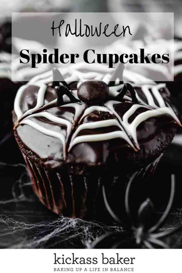 Halloween Spider Cupcakes | kickassbaker.com pin for pinterest w text overlay