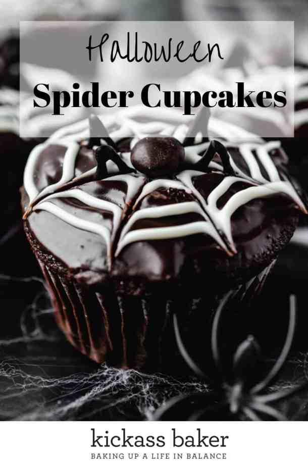 Halloween Spider Cupcakes | kickassbaker.com pin for pinterest w text overlay