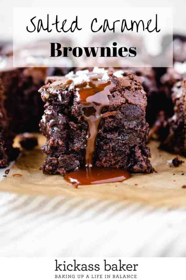 Salted Caramel Brownies | kickassbaker.com pin for pinterest w text overlay