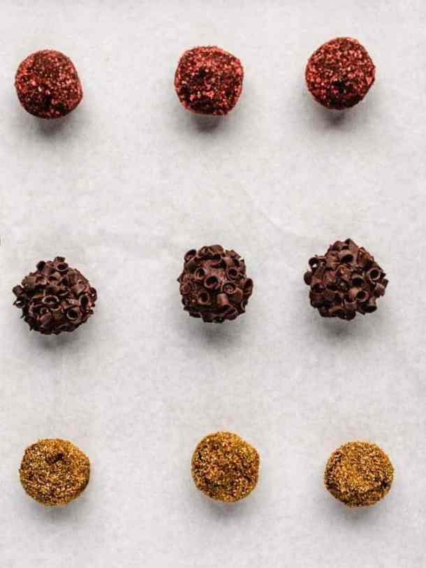 Overhead image of tray of chocolate pumpkin truffles