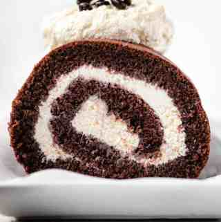 Straight on photo of Chocolate Swiss roll Cake
