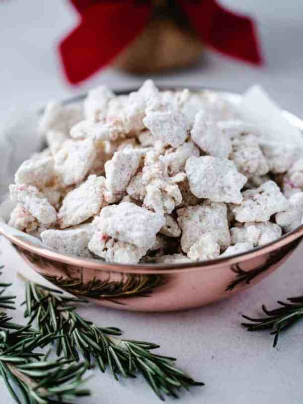 Dish of Peppermint Puppy Chow