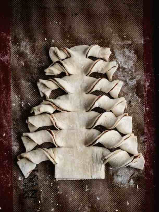 Puff Pastry Christmas Tree with sides twisted