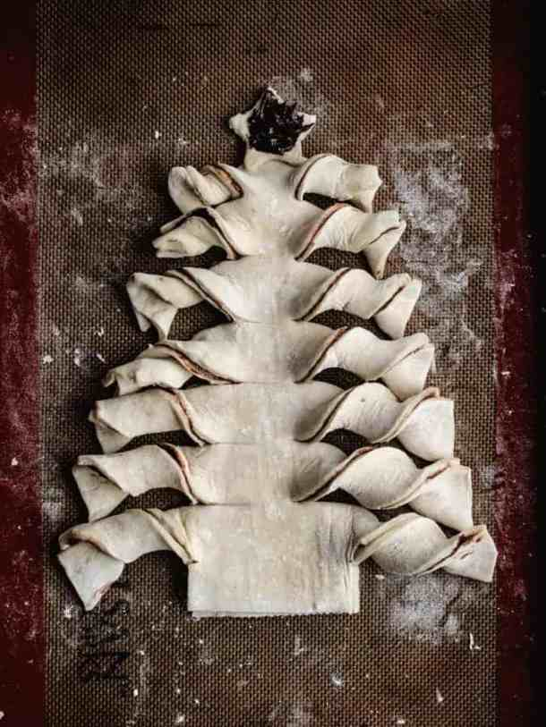 Puff Pastry Christmas tree with chocolate filled star on top