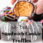 No-Bake Sandwich Cookie Truffles | kickassbaker.com pin for pinterest with text overlay